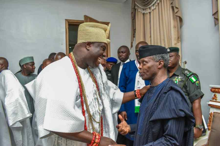 Vice President Yemi Osinbajo and the Ooni of Ife, Oba Adeyeye Ogunwusi on Friday met behind closed doors at the Presidential Villa, Abuja.