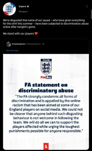 We Stand With Our Players - English FA Hits Back At Racist Trolls