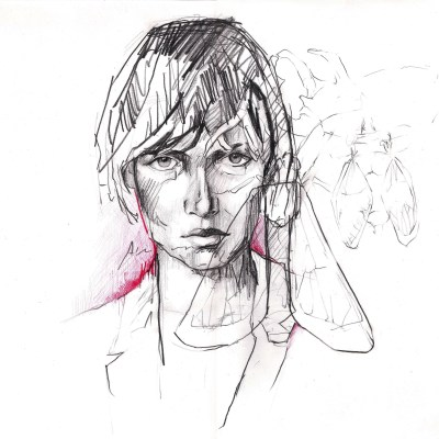 The girl and the flying insects | Graphite pencil and watercolour on paper | 42x29.7 cm