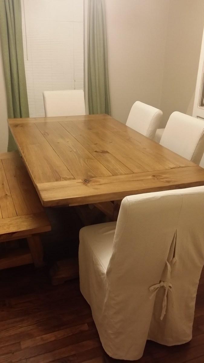 Fancy X Farmhouse Table With 4x4 Base - DIY