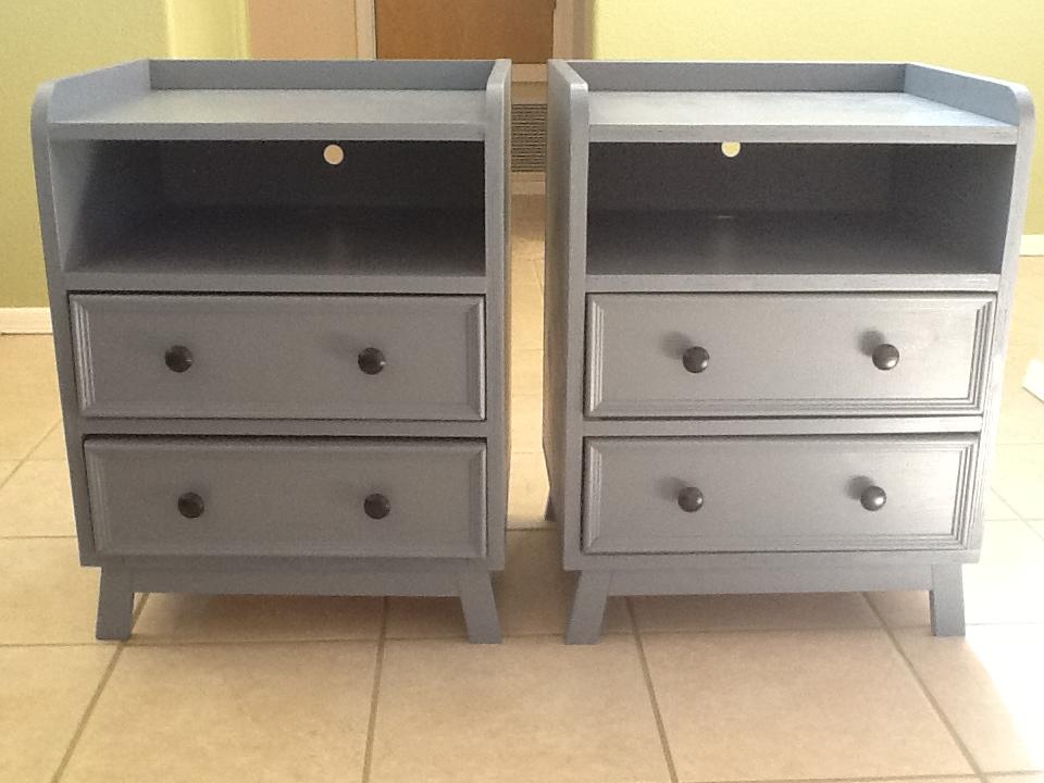 two drawer shelf modern nightstand