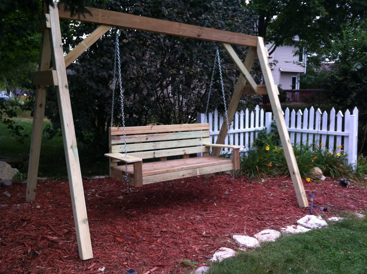Build diy how to build a frame porch swing stand pdf plans for Outdoor swing plans