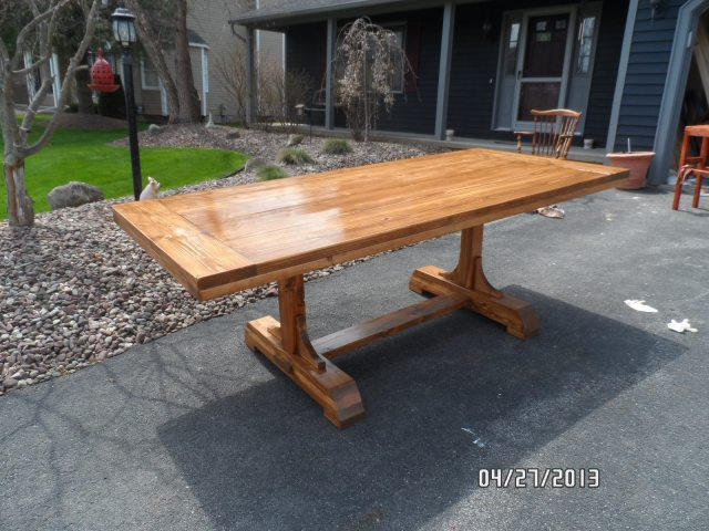 Ana White | Build a Pedestal Trestle Dining Table | Free and Easy