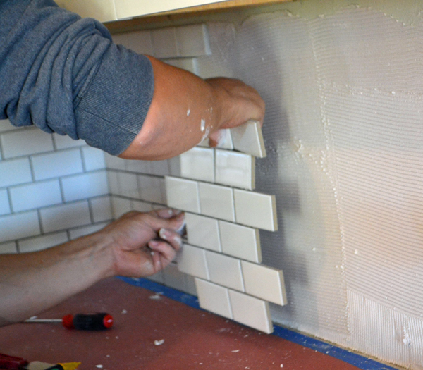 subway tile backsplash install ana white