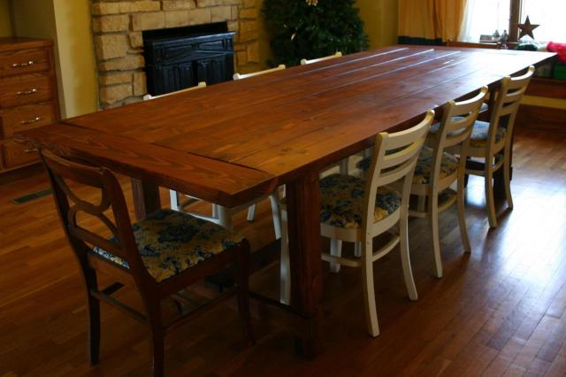 made this table using Ana's design for the Farmhouse Table and the ...