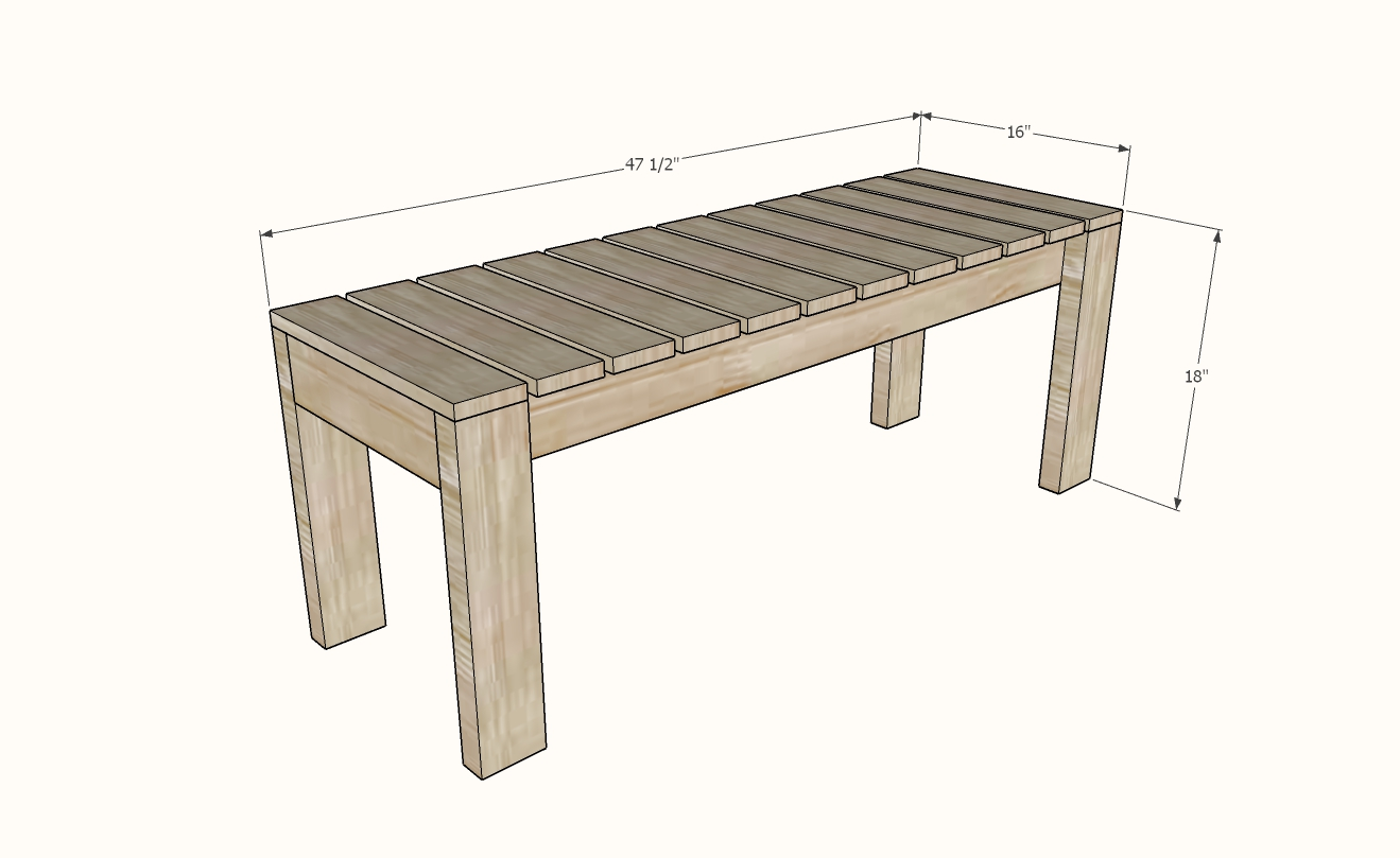 simple outdoor dining bench ana white