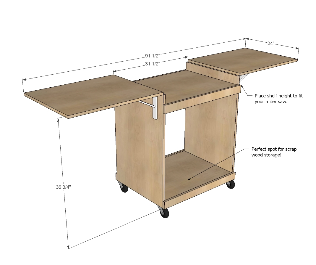 Pdf download miter saw stand plans simple plans for Easy entry cart plans