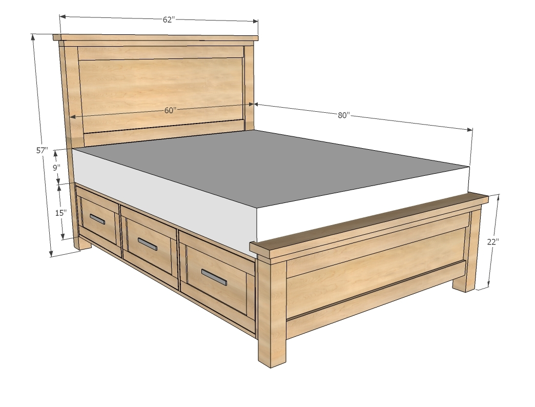 plans queen bed frame with drawers