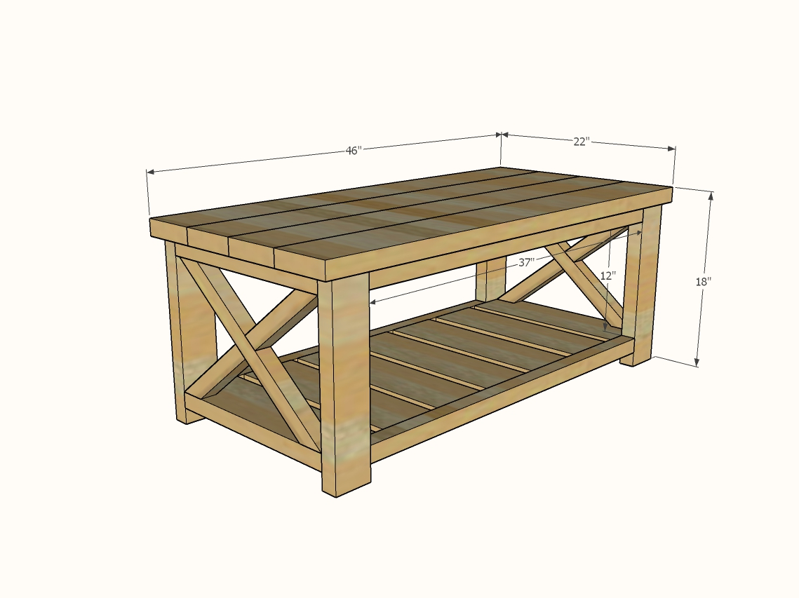 Farmhouse Coffee Table Beginner/Under $40 | Ana White on Coffee Table Plans  id=66432