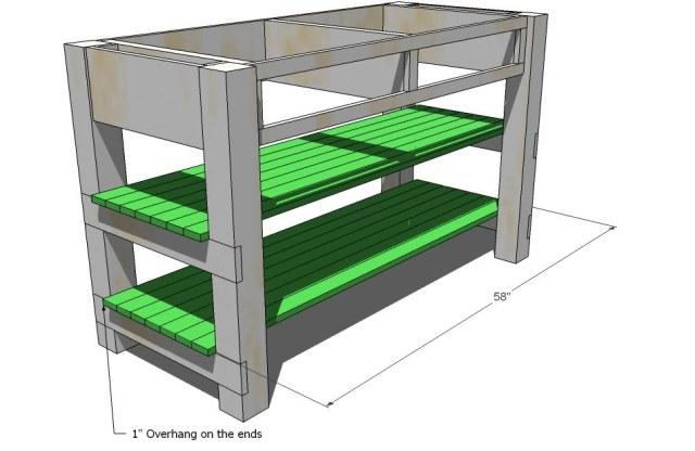 Shelf Tops. Fasten with 2″ screws the shelf tops to the shelf