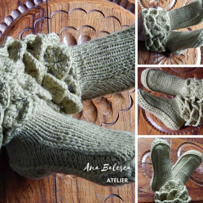 pantufa handmade, feito a mão, em lã.