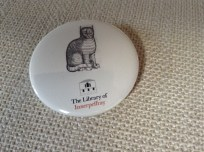 Innerpeffray Library: cat badge