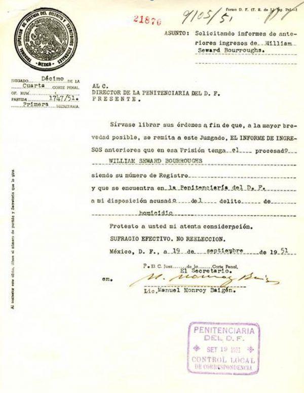 William Burroughs ingreso en prisión