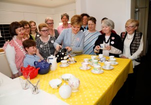 Nicola pours tea