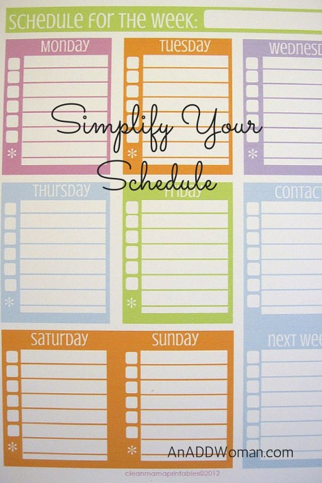 Simplify Your Schedule