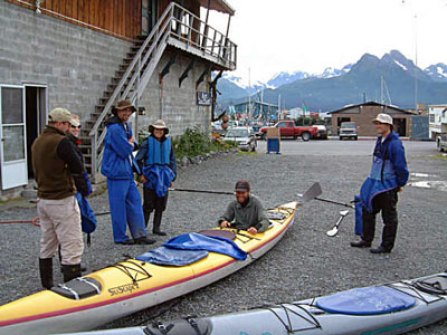 Guide Brad Fidel gives a safety talk before a trip