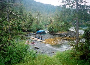 Working the tides for a choice camping spot on Glacier Island 2001.