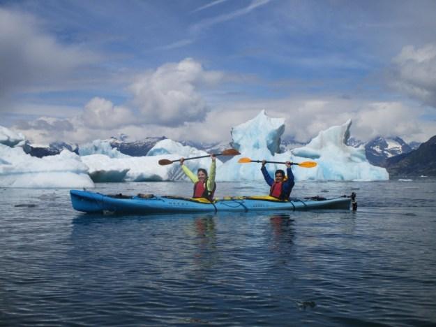 Adi and Manjush enjoying paddling among the ice.