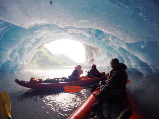 Explore incredible ice features at Valdez Glacier
