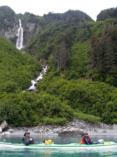 One of the countless waterfalls entering the Port of Valdez