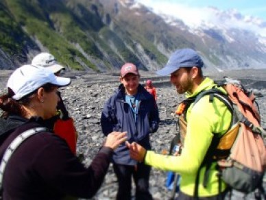 Geology lesson on the glacier