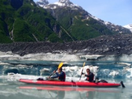 Paddling at the face of the Valdez Glacier