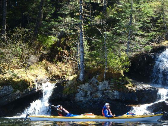 Aaron and Amelia enjoying a waterfall