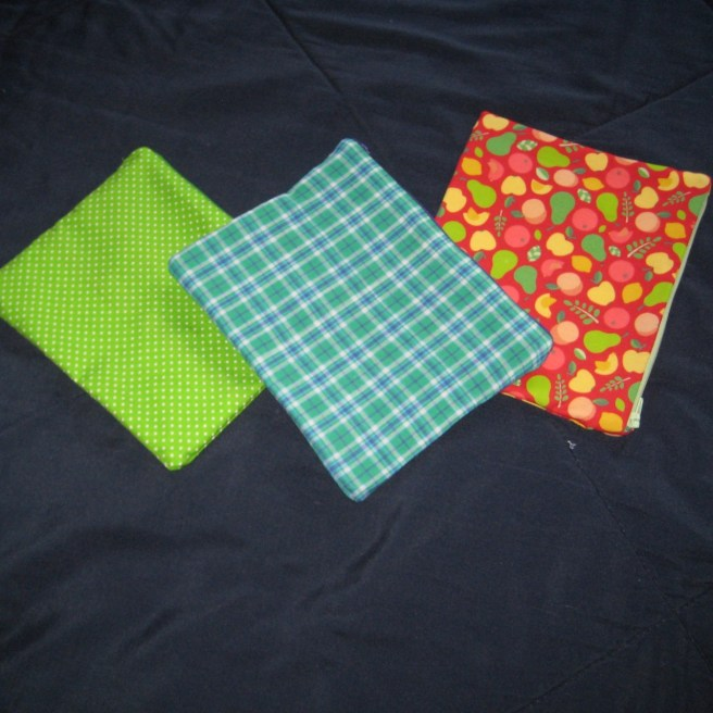 Photograph of three zip-top pouches: lime green with white dots, green and blue plaid, and red fruit print