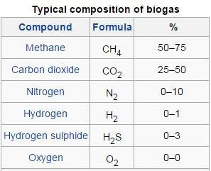 Typical Wikipedia biogas composition table