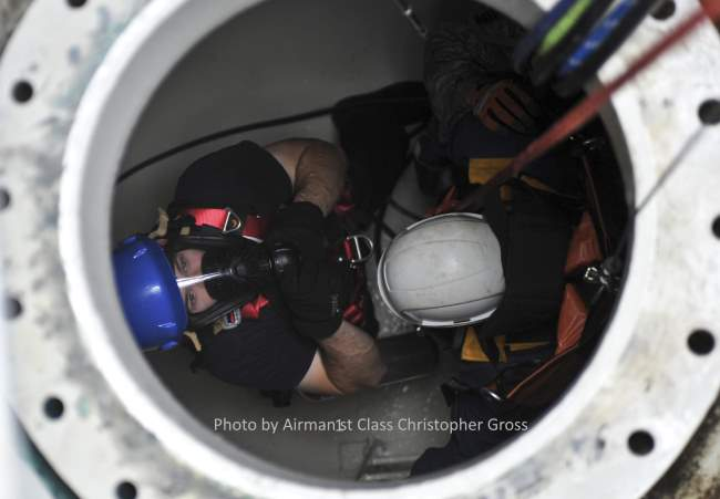 Digester cleaning contractor makes a confined space entry