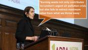 Image shows Charlotte Morton talking about incineration disadvantages.