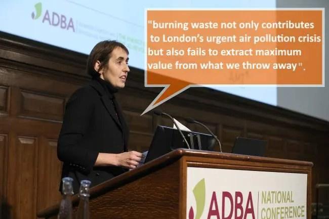 Image shows Charlotte Morton talking about disadvantages of incineration.