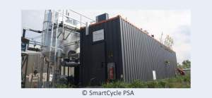 Image shows the SmartCycle PSA biogas purifying plant module.