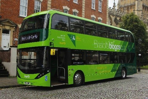 Image shows one of the best uses of biogas - in transport to fuel a bus.