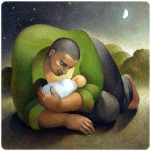 papá, bebé y la luna