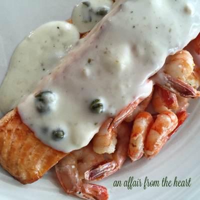 Salmon & Shrimp with Lemon Caper Sauce