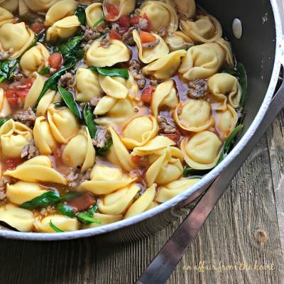 Tortellini Soup with Spinach and Sausage