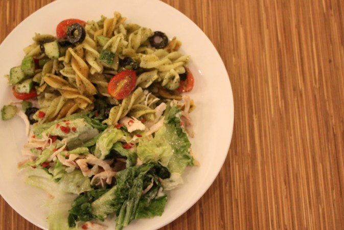 tri-coloured-pasta-and-chicken-caesar-salad