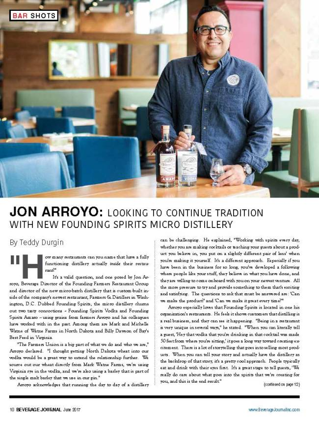 Farmers & Distillers, Founding Spirits' Jon Arroyo featured on the Beverage Journal by Ana Isabel Photography