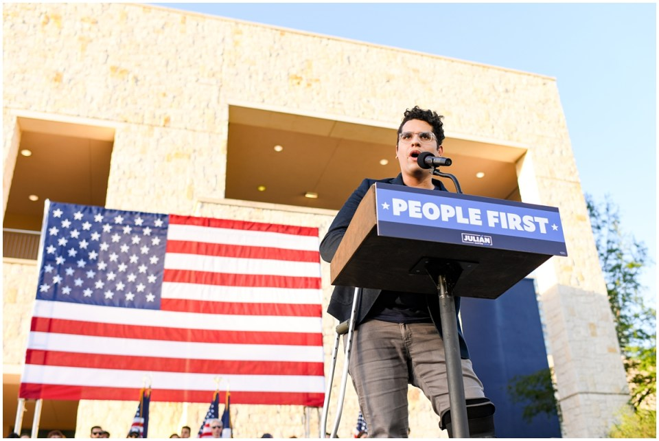 Zenen Jaimes Perez, Communications Director for the Texas Civil Rights Project speaks at Julian Castro rally