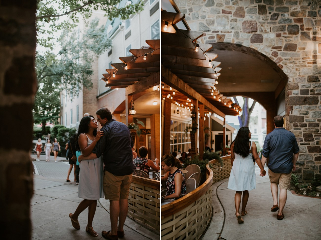 Couple walking the street of Princeton New Jersey for their engagement photos