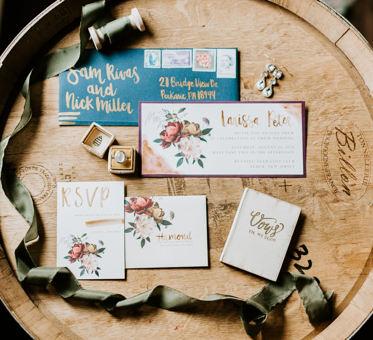 Wedding invitations featuring boho and modern style