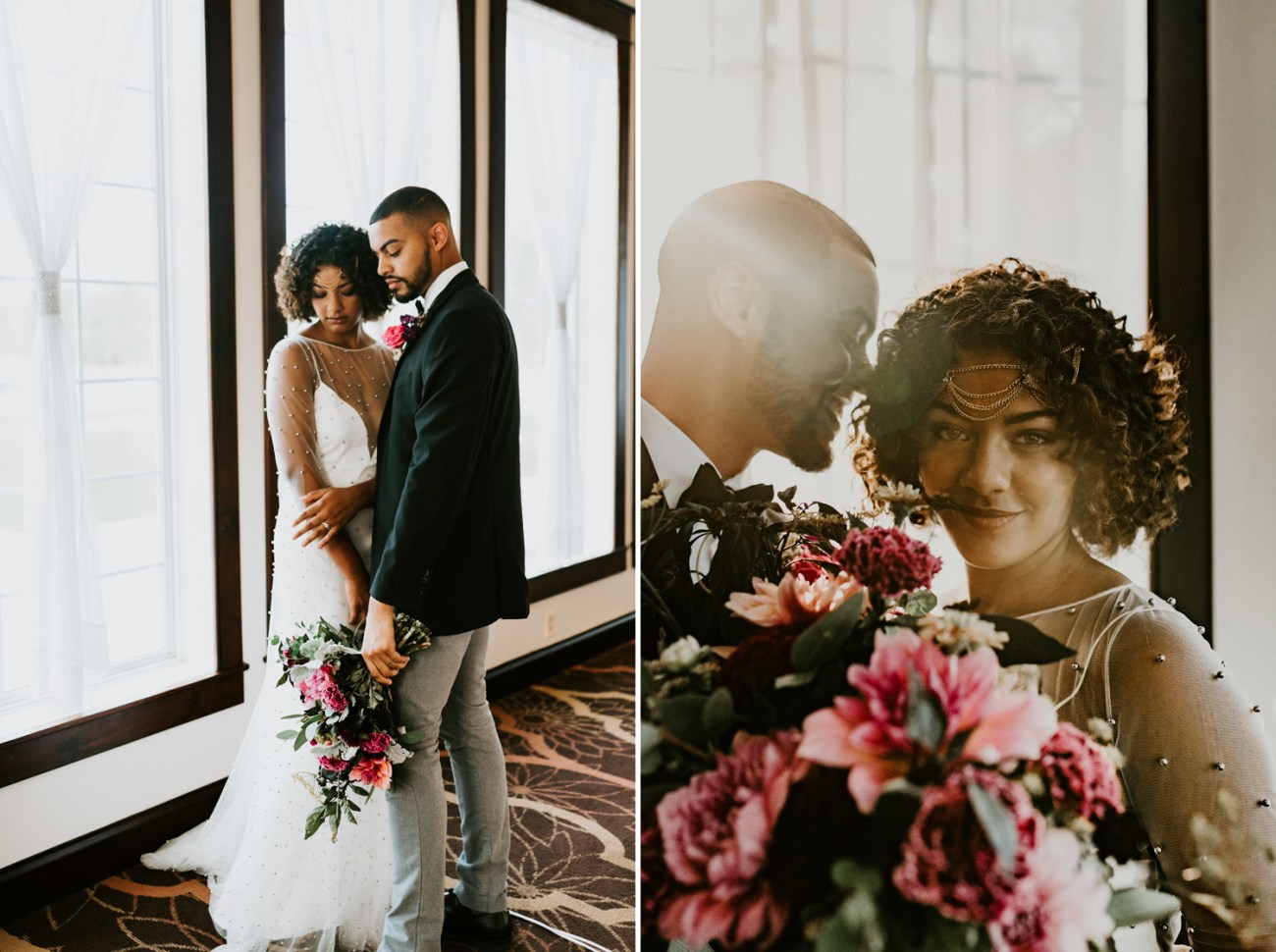 Bride and Groom standing by the window of the Grand Ballroom at the Running Deer Golf Club