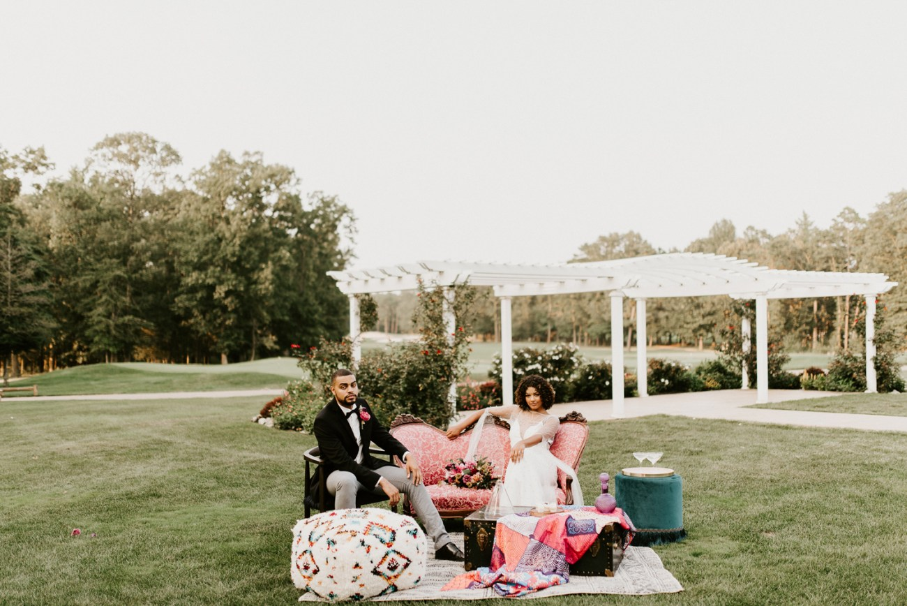 Bride and Groom at their cocktail hour at the Running Deer Golf Club wedding venue