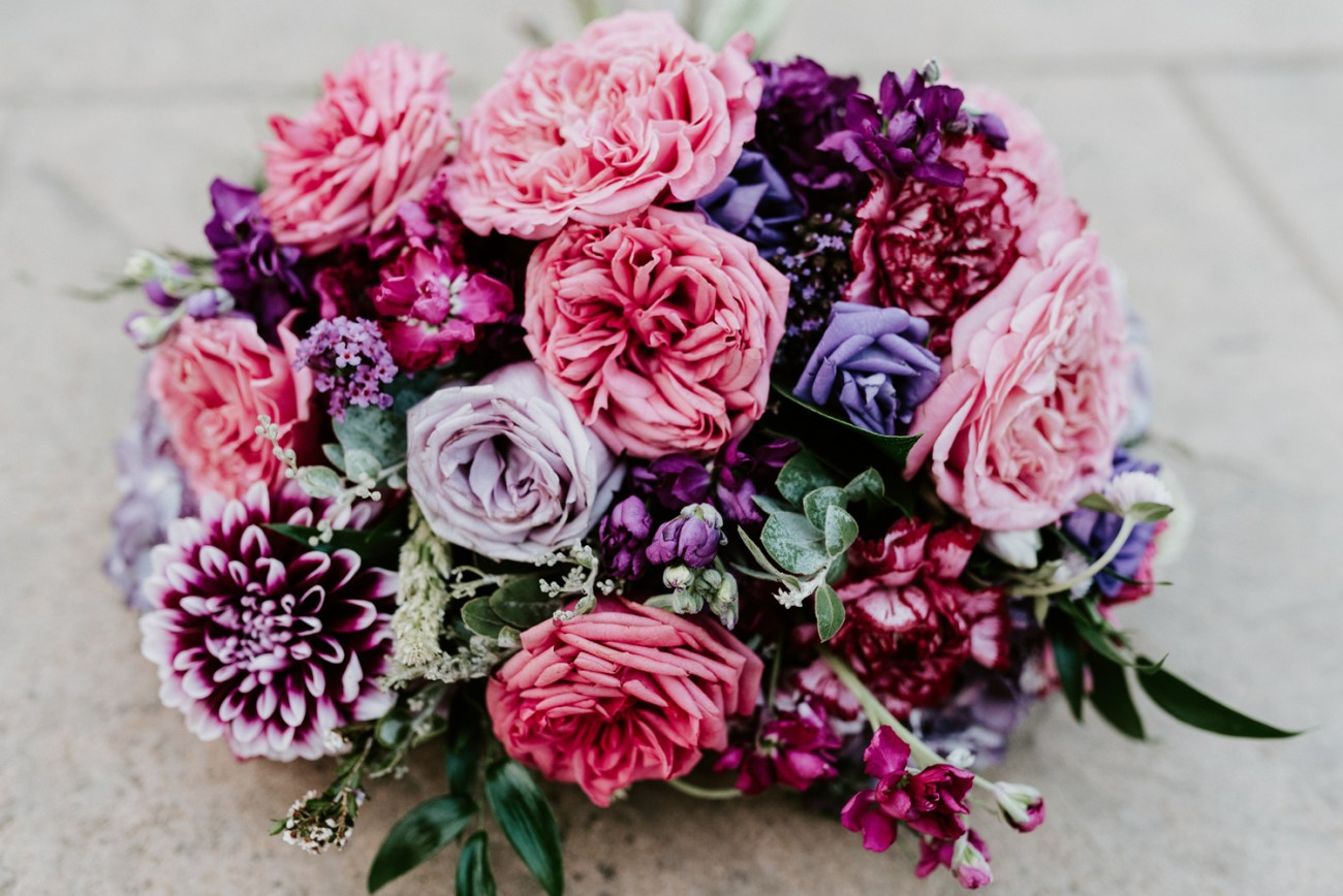 Colorful pink and purple wedding bouquet