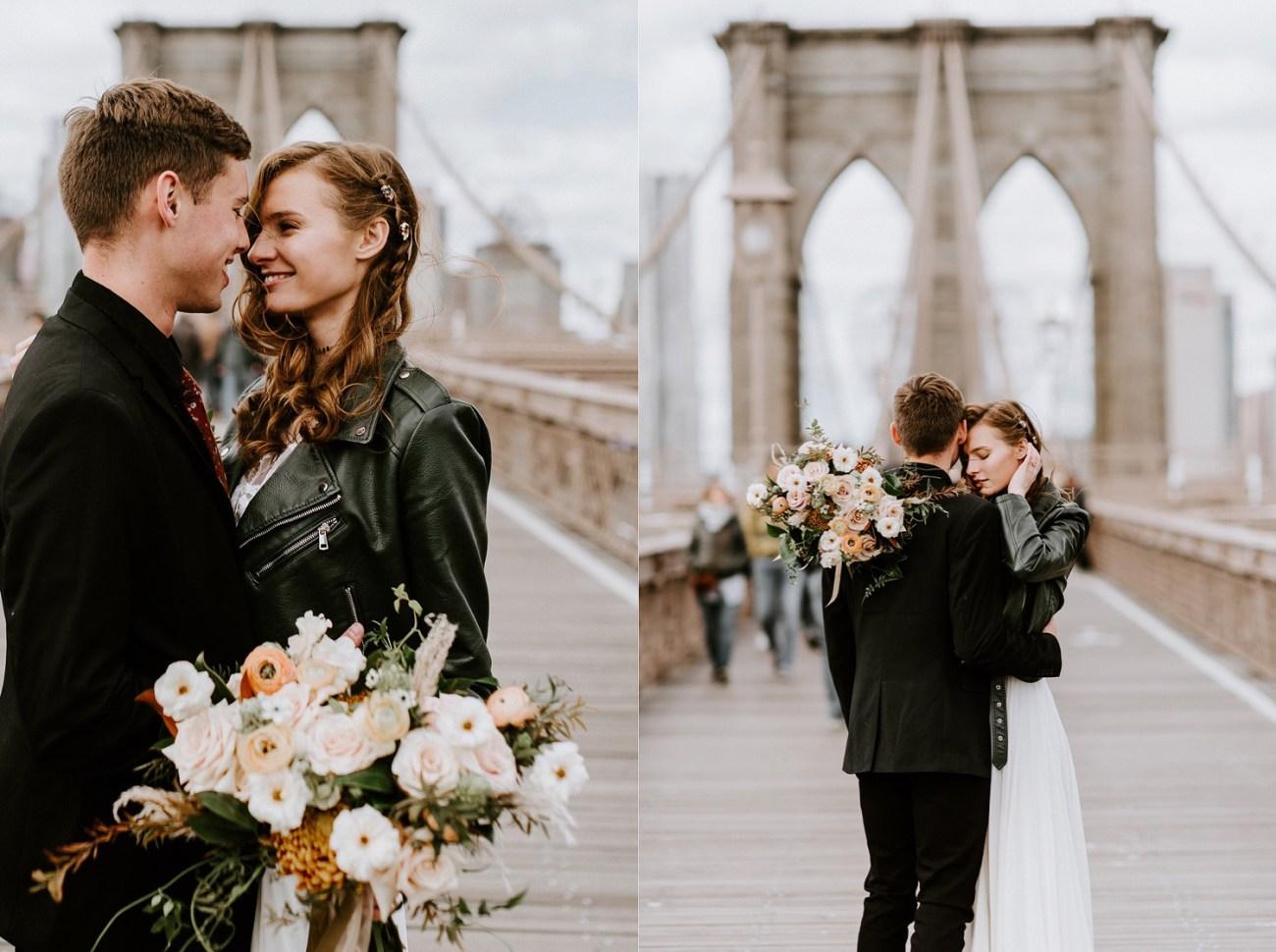 Bride and Groom on the Brooklyn Bridge for their bridal portrait. Brooklyn wedding photos. Dumbo Brooklyn Bride and Groom elopement photos. Anais Possamai Photography. New York Wedding Photographer
