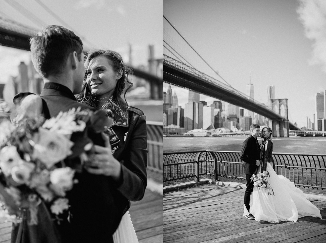 Bride and Groom kissing in front of the Brooklyn Bridge. Dumbo Brooklyn wedding photos. Dumbo Brooklyn Bride and Groom elopement photos. Anais Possamai Photography. New York Wedding Photographer. NYC elopement Photographer
