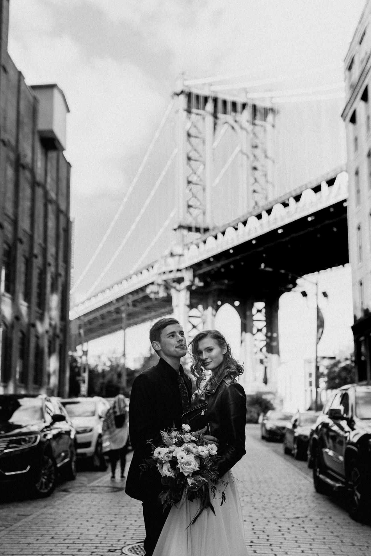 Dumbo Brooklyn wedding photos. Dumbo Brooklyn Bride and Groom elopement photos. Anais Possamai Photography. New York Wedding Photographer. NYC elopement Photographer