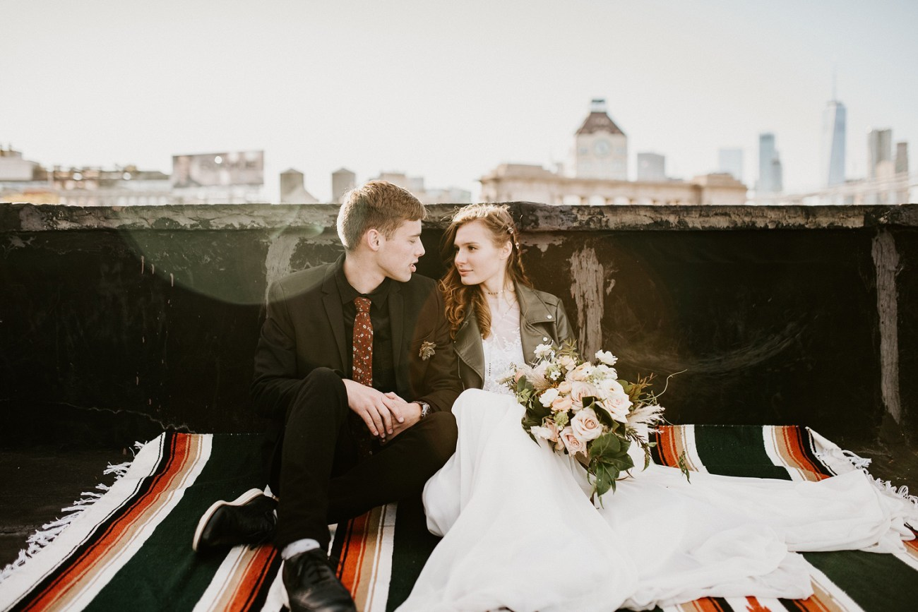 Brooklyn Rooftop elopement. Anais Possamai Photography, New York wedding photographer. Brooklyn elopement photographer, NYC elopement photographer.