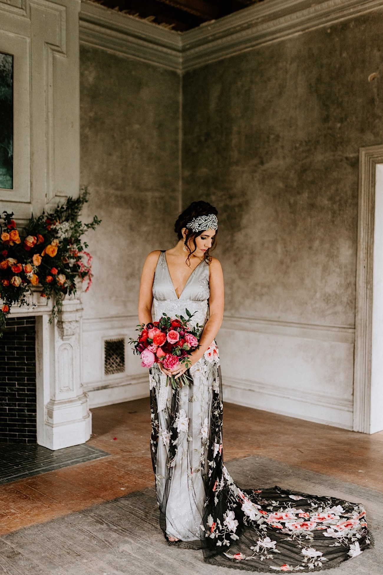 Claire Pettibone Wedding dress. Ravena Wedding gown by Claire Pettibone. Black wedding dress inspiration. Philadelphia Wedding Photographer, Philadelphia Wedding Venue, Barnsley Manor Wedding. Anais Possamai Photography